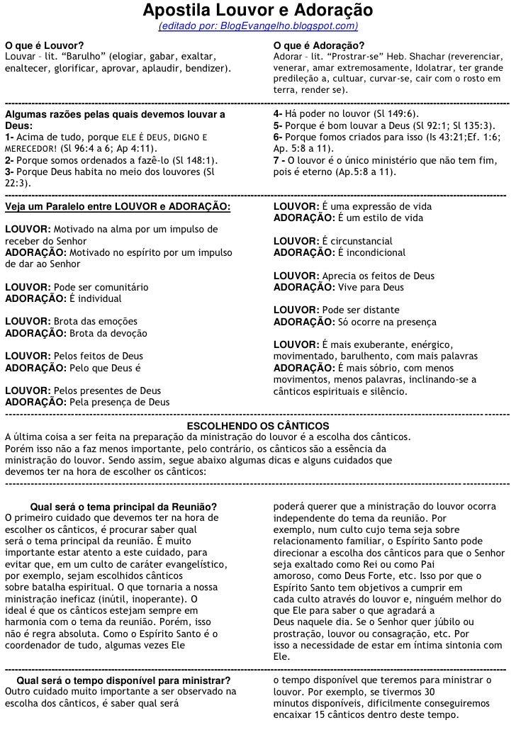 Apostila Louvor e Adoração                                              (editado por: BlogEvangelho.blogspot.com)O que é L...