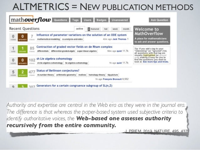 ALTMETRICS = NEW PUBLICATION METHODSReputation:a (very) rough measurement of how much the MathOverflow communitytrusts you....