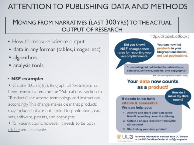 ATTENTION TO PUBLISHING DATA AND METHODSDataOne(US NSF funded)  Preservation + access to multi-scale, multi-discipline, an...