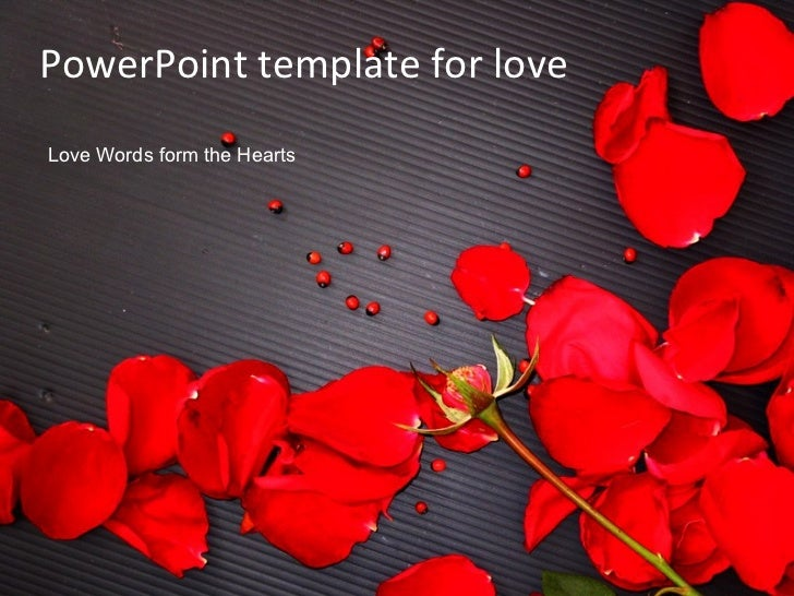 PowerPoint template for love Love Words form the Hearts