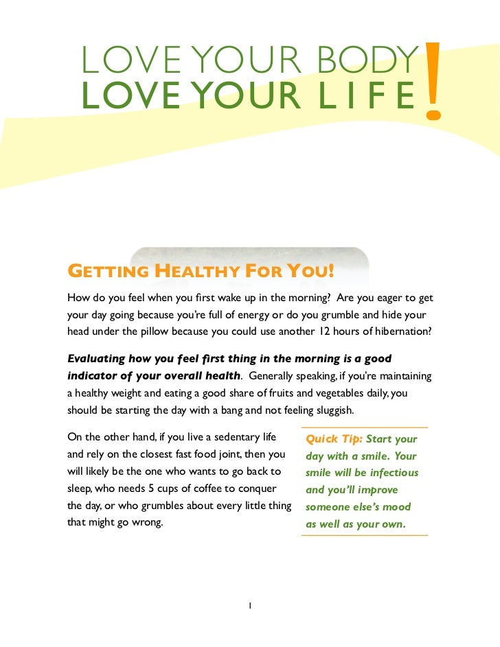 LOVE YOUR BODY  LOVE YOUR L I F E                                                            !GETTING HEALTHY FOR YOU!How ...