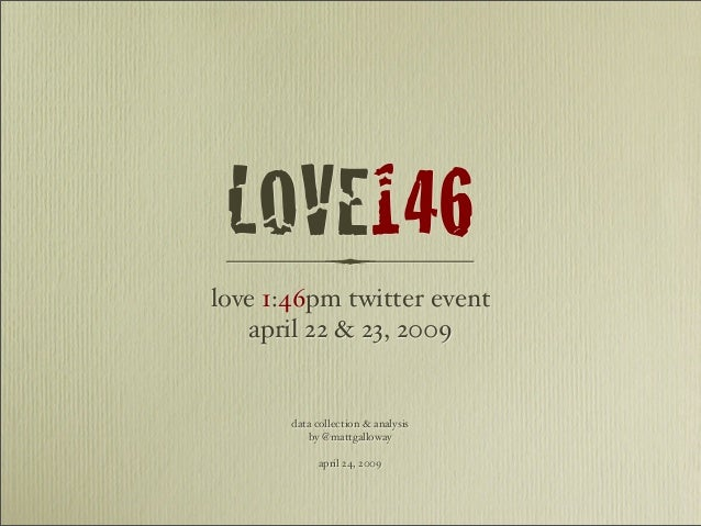 LOVE146 love 1:46pm twitter event april 22 & 23, 2009 data collection & analysis by @mattgalloway april 24, 2009