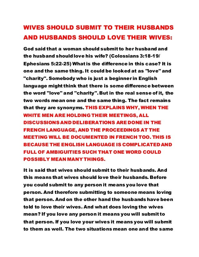 wives be obedient to your husbands