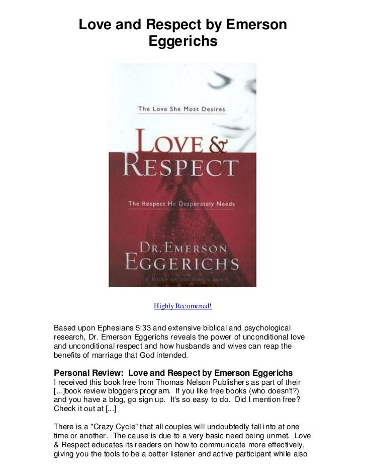 Love And Respect By Emerson Eggerichs Love And Respect