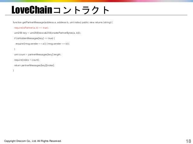 Copyright Drecom Co., Ltd. All Rights Reserved. 18 LoveChainコントラクト function getPartnerMessage(address a, address b, uint i...