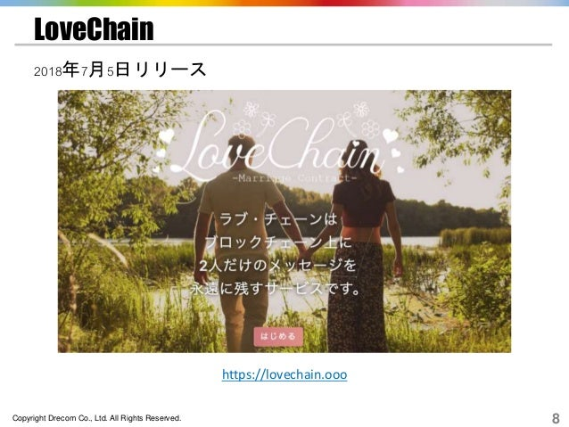 Copyright Drecom Co., Ltd. All Rights Reserved. 8 LoveChain 2018年7月5日リリース https://lovechain.ooo