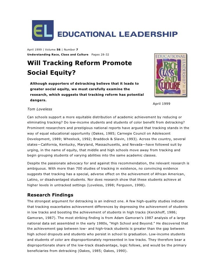 April 1999 | Volume 56 | Number 7Understanding Race, Class and Culture   Pages 28-32Will Tracking Reform PromoteSocial Equ...