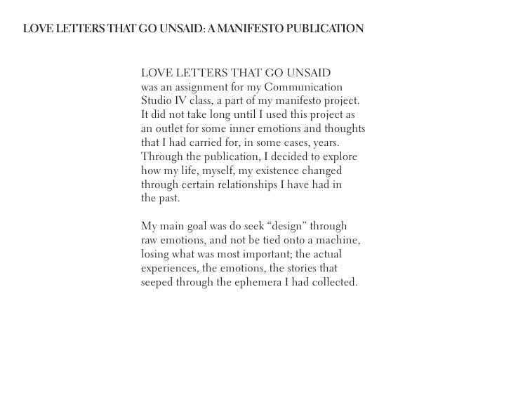 LOVE LETTERS THAT GO UNSAID: A MANIFESTO PUBLICATION                 LOVE LETTERS THAT GO UNSAID                 was an as...