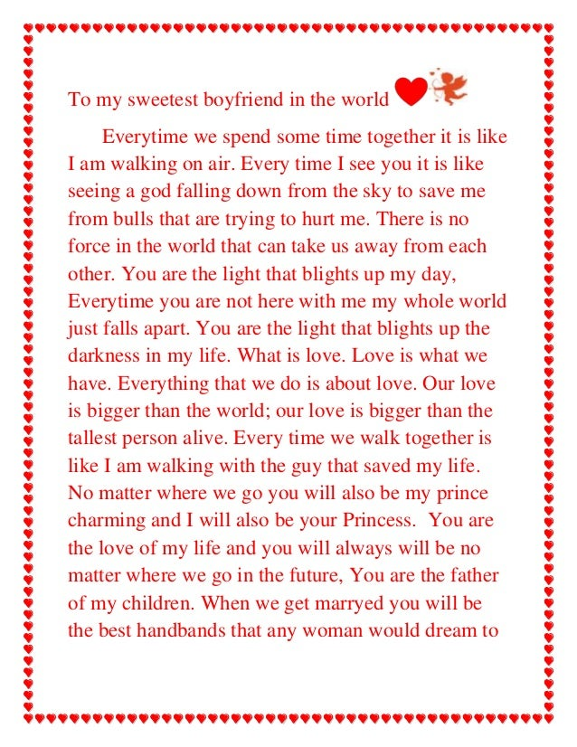 Letter from a girlfriend to her boyfriend