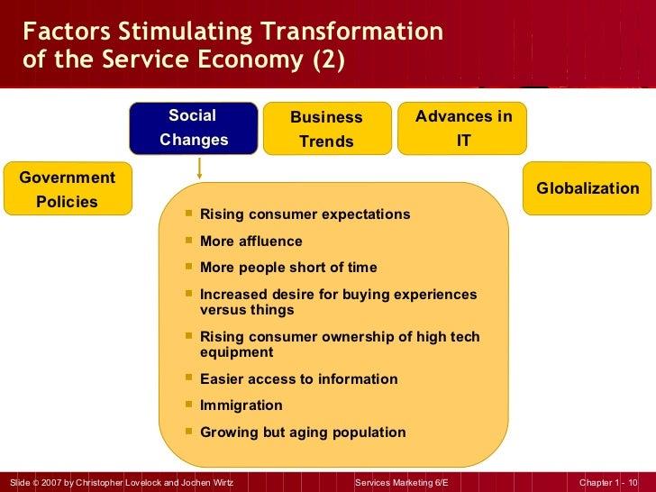 Factors Stimulating Transformation  of the Service Economy (2)  <ul><li>Rising consumer expectations </li></ul><ul><li>Mor...