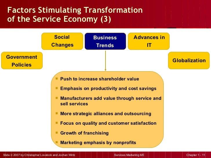 Factors Stimulating Transformation  of the Service Economy (3) <ul><li>Push to increase shareholder value </li></ul><ul><l...