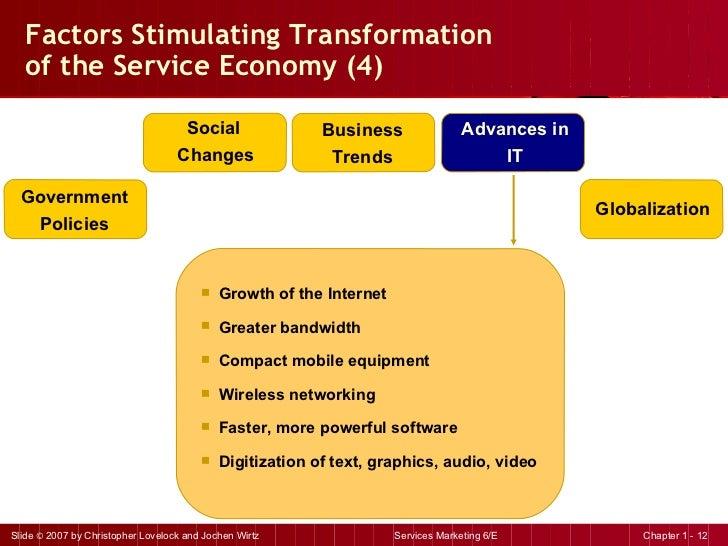 Factors Stimulating Transformation  of the Service Economy (4) <ul><li>Growth of the Internet </li></ul><ul><li>Greater ba...