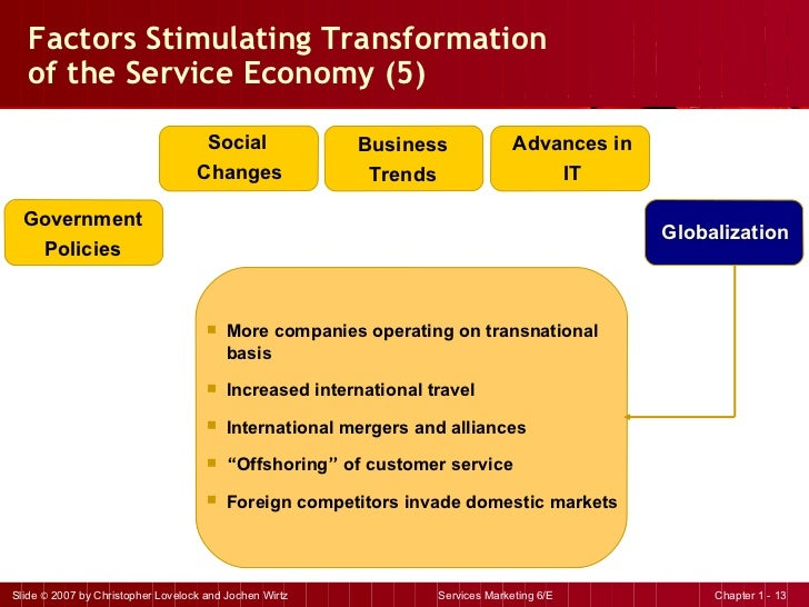 Factors Stimulating Transformation  of the Service Economy (5) <ul><li>More companies operating on transnational basis </l...