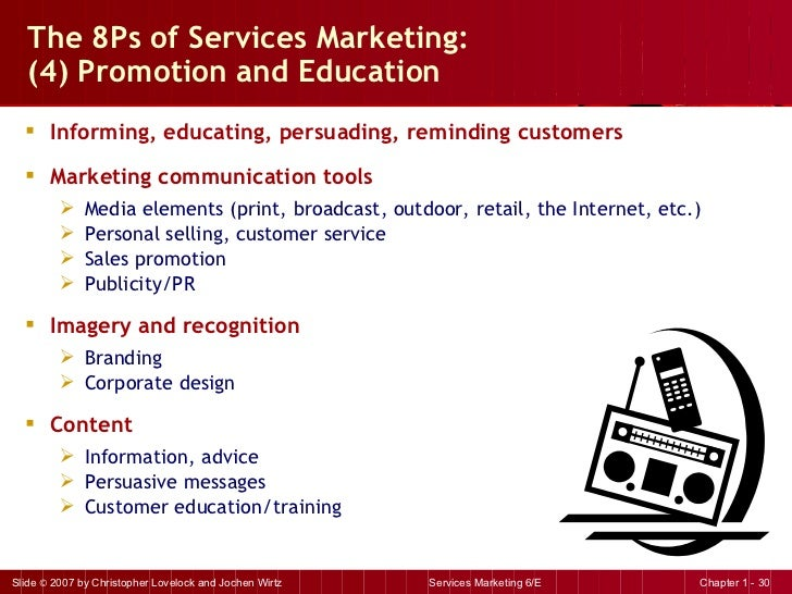 The 8Ps of Services Marketing:  (4) Promotion and Education  <ul><li>Informing, educating, persuading, reminding customers...