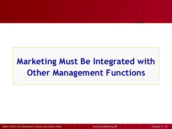Marketing Must Be Integrated with Other Management Functions