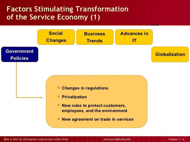 Factors Stimulating Transformation  of the Service Economy (1)  <ul><li>Changes in regulations </li></ul><ul><li>Privatiza...