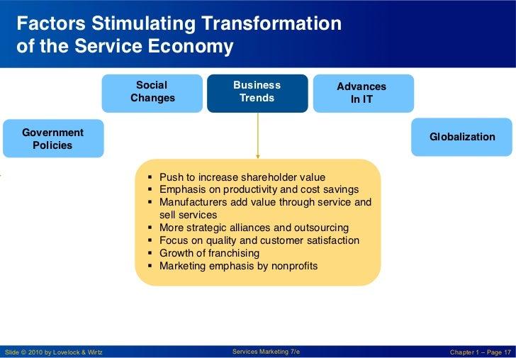 Factors Stimulating Transformation   of the Service Economy !                                    Social!            Busine...