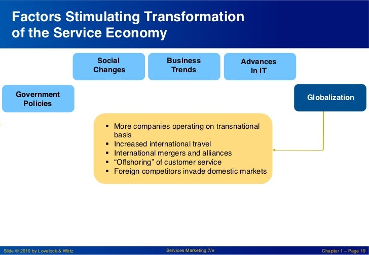 Factors Stimulating Transformation   of the Service Economy !                                    Social!             Busin...
