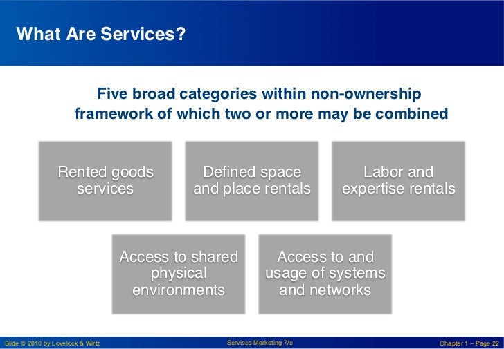 What Are Services? !                          !Five broad categories within non-ownership                       framework ...