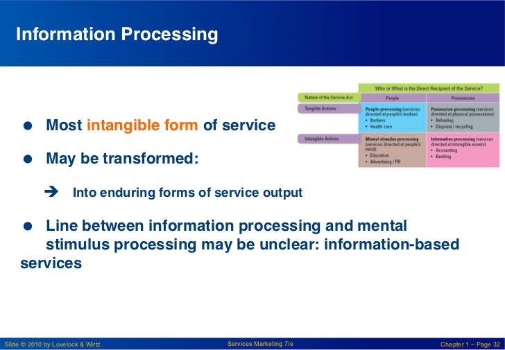 Information Processing!      Most intangible form of service!      May be transformed:!            è Into enduring f...