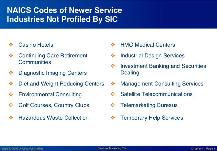 """NAICS Codes of Newer Service   Industries Not Profiled By SIC!     v Casino Hotels""""                          v HMO Med..."""