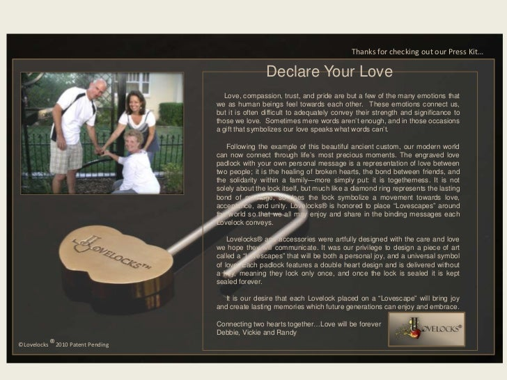 Thanks for checking out our Press Kit…<br />Declare Your Love<br />    Love, compassion, trust, and pride are but a few of...