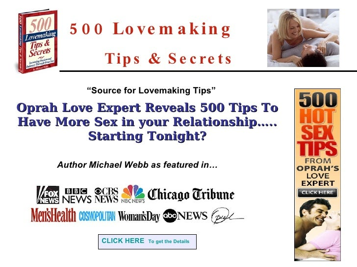 500 Lovemaking   Tips & Secrets Oprah Love Expert Reveals 500 Tips To Have More Sex in your Relationship….. Starting Tonig...
