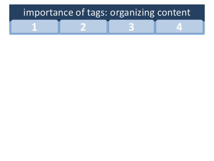 importance of tags: organizing content 1          2          3          4