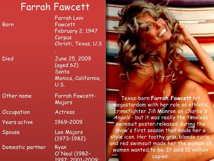 Farrah Fawcett<br />1<br />Texas-bornFarrah Fawcetthit megastardom with her role as athletic crimefighter Jill Munroe on...