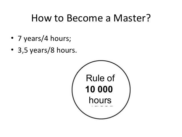 How to Become a Master? • 7 years/4 hours; • 3,5 years/8 hours. Rule of 10 000 hours