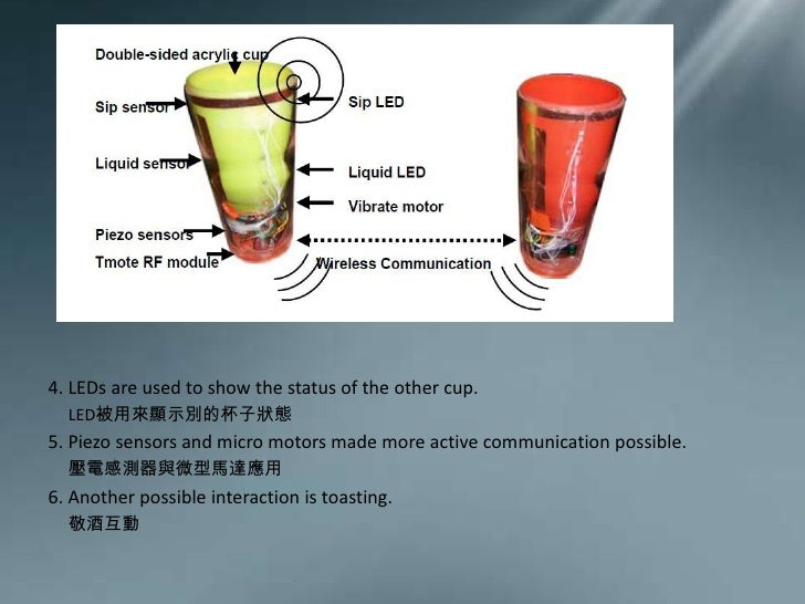 4.LEDs are used to show the status of the other cup. <br />     LED被用來顯示別的杯子狀態<br />5.Piezo sensors and micro motors made ...