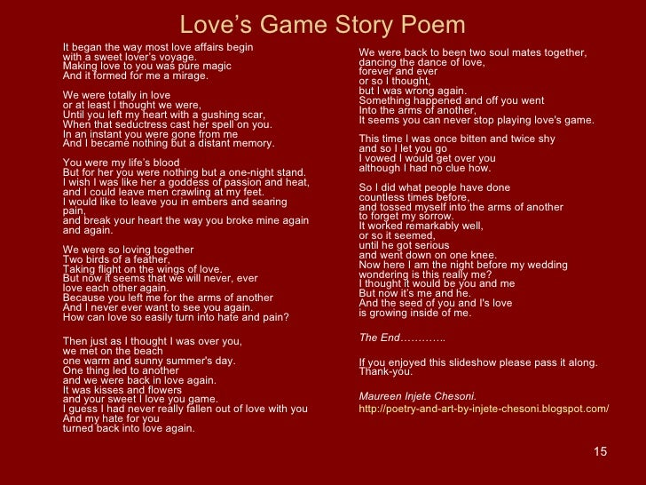 Love's Game Story Poem ...