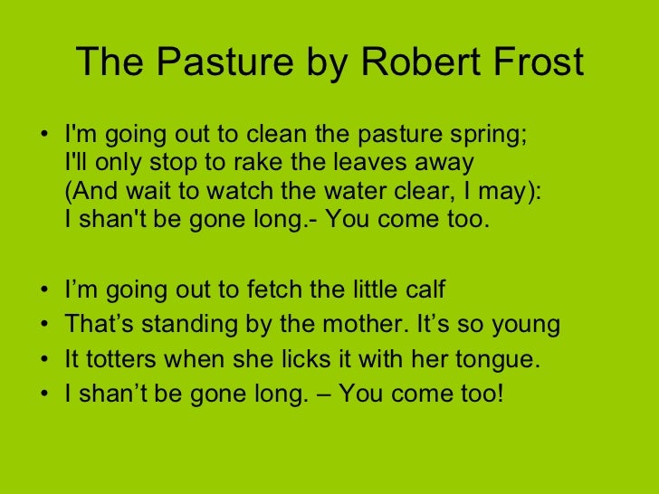 THE PASTURE BY ROBERT FROST PDF DOWNLOAD