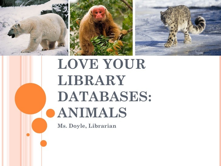 LOVE YOURLIBRARYDATABASES:ANIMALSMs. Doyle, Librarian
