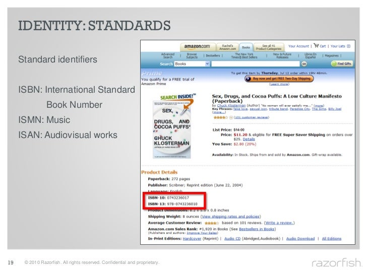 IDENTITY: STANDARDS       Standard identifiers        ISBN: International Standard                 Book Number      ISMN: ...