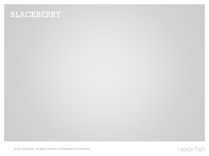 BLACKBERRY     © 2010 Razorfish. All rights reserved. Confidential and proprietary.