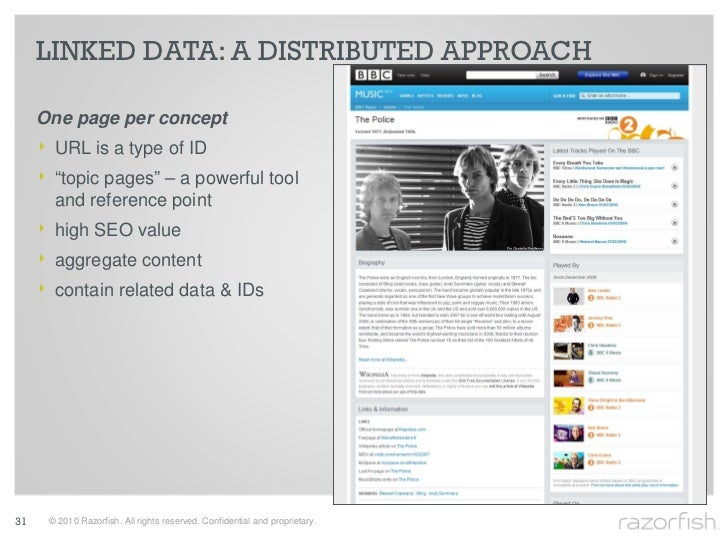 "LINKED DATA: A DISTRIBUTED APPROACH       One page per concept      ‣ URL is a type of ID      ‣ ""topic pages"" – a powerfu..."