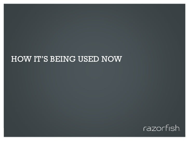 HOW IT'S BEING USED NOW     © 2010 Razorfish. All rights reserved. Confidential and proprietary.