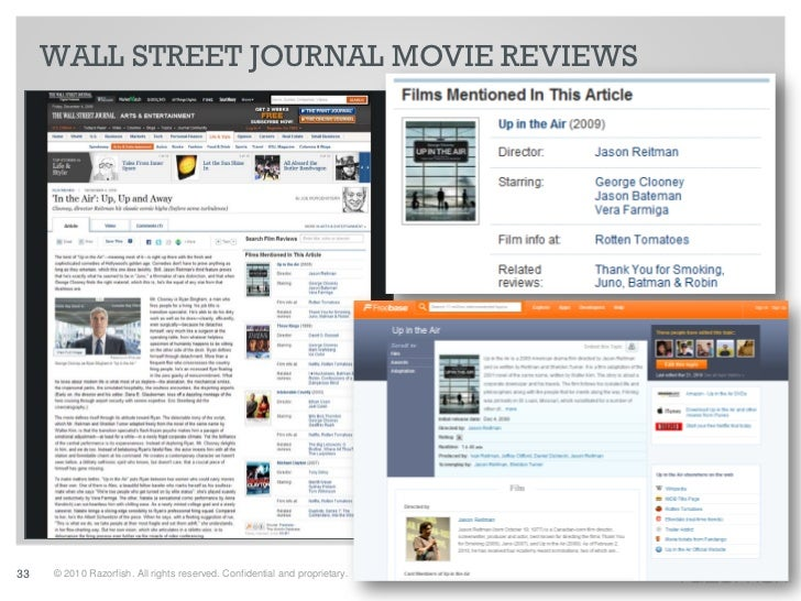 WALL STREET JOURNAL MOVIE REVIEWS     33   © 2010 Razorfish. All rights reserved. Confidential and proprietary.