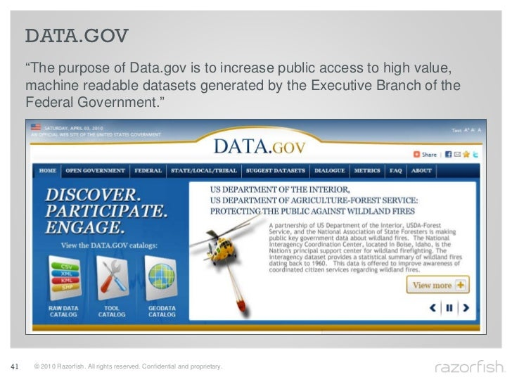 """DATA.GOV      """"The purpose of Data.gov is to increase public access to high value,      machine readable datasets generate..."""