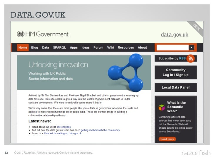 DATA.GOV.UK     43   © 2010 Razorfish. All rights reserved. Confidential and proprietary.