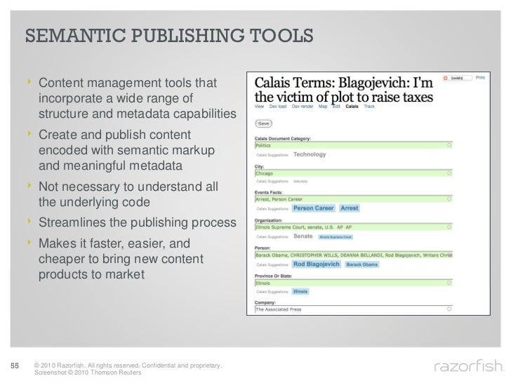 SEMANTIC PUBLISHING TOOLS       ‣ Content management tools that        incorporate a wide range of        structure and me...