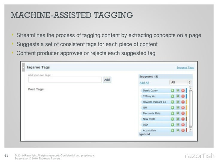 MACHINE-ASSISTED TAGGING       ‣ Streamlines the process of tagging content by extracting concepts on a page      ‣ Sugges...