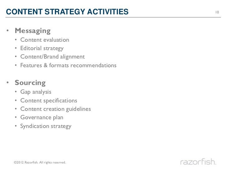 CONTENT STRATEGY ACTIVITIES                10• Messaging  •   Content evaluation  •   Editorial strategy  •   Content/Bran...