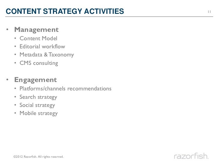 CONTENT STRATEGY ACTIVITIES               11• Management •   Content Model •   Editorial workflow •   Metadata & Taxonomy ...