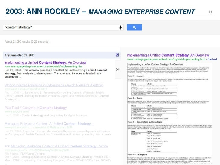 2003: ANN ROCKLEY – MANAGING ENTERPRISE CONTENT   19