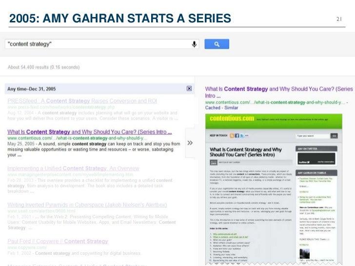 2005: AMY GAHRAN STARTS A SERIES   21