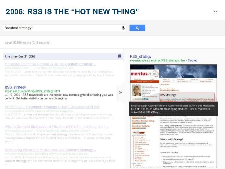 "2006: RSS IS THE ""HOT NEW THING""   22"