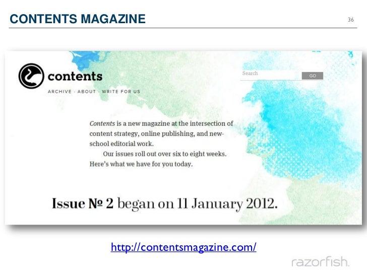 CONTENTS MAGAZINE                          36            http://contentsmagazine.com/