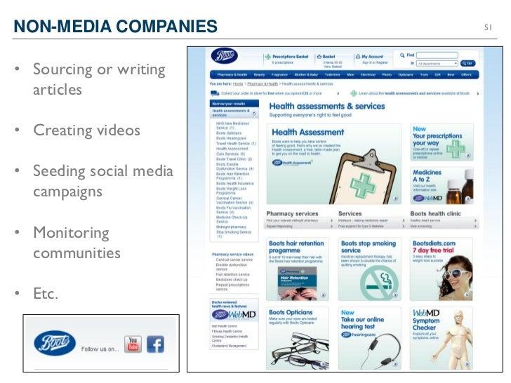 NON-MEDIA COMPANIES                       51• Sourcing or writing  articles• Creating videos• Seeding social media  campai...